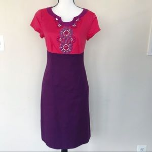 Boden Beaded Floral Sheath Dress Red Purple